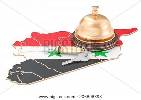 Syria booking concept. Syrian flag with hotel key and reception bell 3D rendering