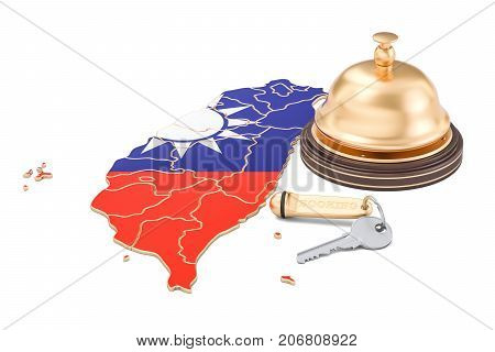 Taiwan booking concept. Taiwanese flag with hotel key and reception bell 3D rendering