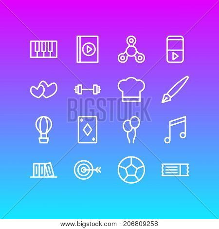 Editable Pack Of Bookshelf, Quaver, Air Balloon And Other Elements.  Vector Illustration Of 16 Joy Icons.