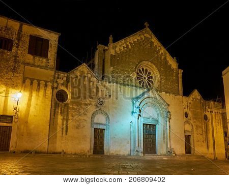 Principal facade of Chiesa Madre San Pietro e Paolo church at night. Galatina, Apulia, Italy.