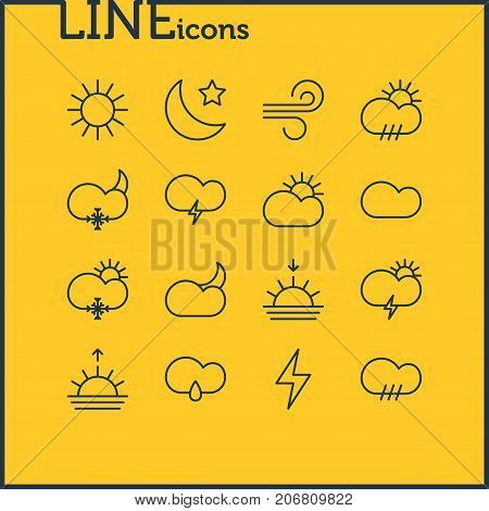 Editable Pack Of Crescent, Windstorm, Rain And Other Elements.  Vector Illustration Of 16 Atmosphere Icons.