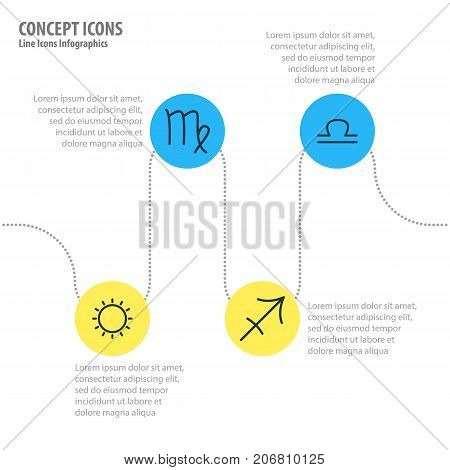 Editable Pack Of Scales, Sunny, Archer And Other Elements.  Vector Illustration Of 4 Constellation Icons.
