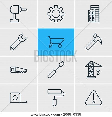 Editable Pack Of Roller, Handcart, Cogwheel Elements.  Vector Illustration Of 12 Industry Icons.