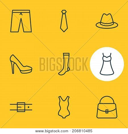 Editable Pack Of Fedora, Swimming Trunks, Evening Dress And Other Elements.  Vector Illustration Of 9 Clothes Icons.