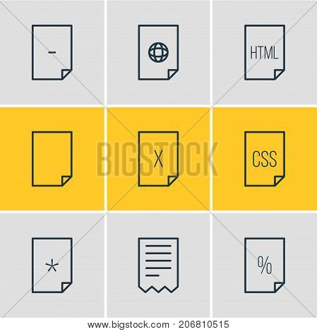 Editable Pack Of Remove, Basic, Munus And Other Elements.  Vector Illustration Of 9 File Icons.
