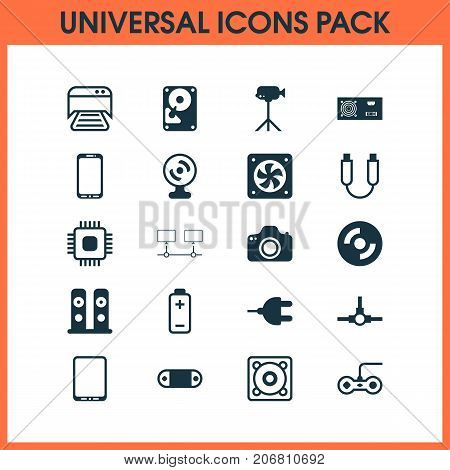 Hardware Icons Set. Collection Of Printed Document, Network Structure, Power Generator And Other Elements