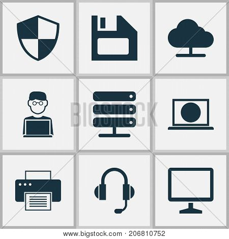 Computer Icons Set. Collection Of Tree, Defense, Database And Other Elements