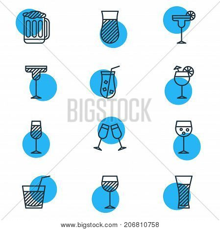 Editable Pack Of Celebrate, Champagne, Goblet And Other Elements.  Vector Illustration Of 12 Beverage Icons.
