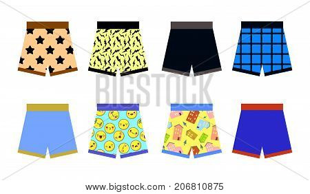 set of colored underpants shorts with a patternon white background. Underwear for men. Flat design Vector Illustration