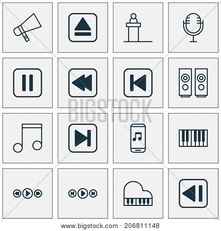 Multimedia Icons Set. Collection Of Audio Buttons, Last Song, Rostrum And Other Elements