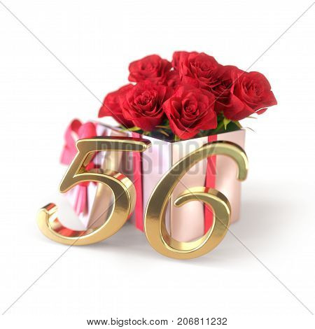 birthday concept with red roses in gift isolated on white background. 3D render - fifty-sixth birthday. 56th