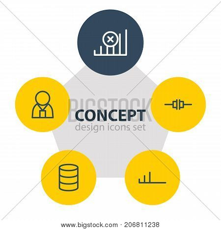 Editable Pack Of Disconnected, Internet, Manager And Other Elements.  Vector Illustration Of 5 Network Icons.