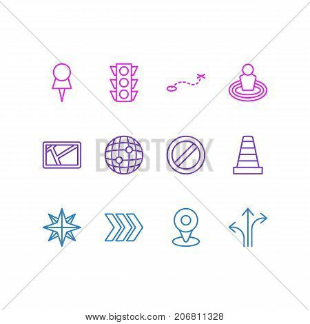 Editable Pack Of Orientation, Path, Block And Other Elements.  Vector Illustration Of 12 Direction Icons.