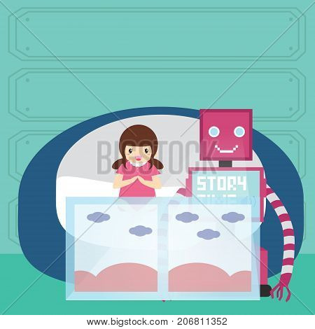 Domestic Robot and little girl reading bedtime story on virtual screen. Personal robot childcare futuristic concept illustration vector.