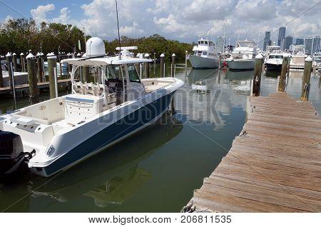 Sport fishing boat moored at a marina on Key Biscayne,Florida