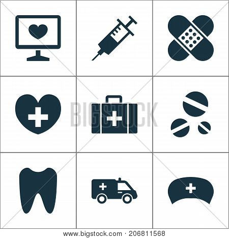 Antibiotic Icons Set. Collection Of Injection, Bandage, First-Aid Elements