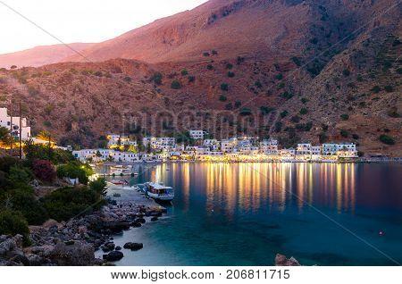 The small traditional village of Chora Sfakion, Sfakia, Chania, Crete, Greece.