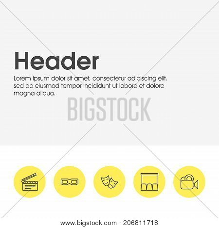 Editable Pack Of Clapper, Hall, Spectacles And Other Elements.  Vector Illustration Of 5 Film Icons.
