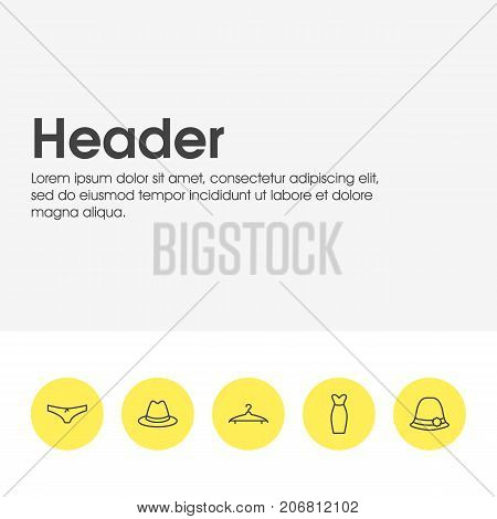 Editable Pack Of Cloakroom, Fedora, Panties And Other Elements.  Vector Illustration Of 5 Garment Icons.