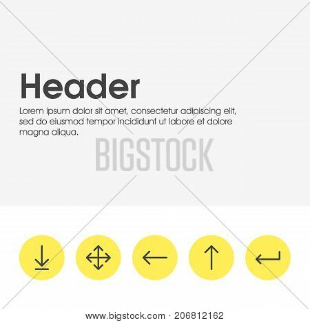 Editable Pack Of Upwards, Turn, Widen And Other Elements.  Vector Illustration Of 5 Direction Icons.