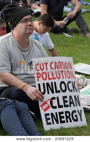 Brisbane, Australia - June 6 : Man With Clean Energy Protest Sign At Say Yes Rally  During World Env