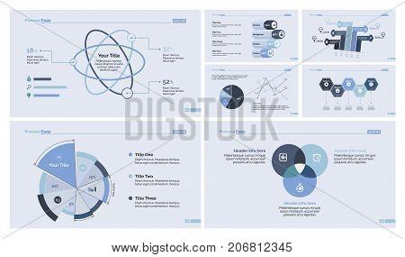Statistic report design template set for diagram, presentation, web design. Marketing concept. Atom percentage chart, pie chart, process chart, option graph, scatter plot, venn graph