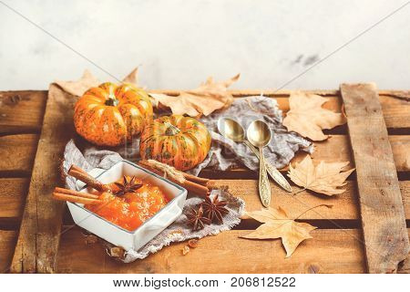 Fall Autumn Pumpkin Jam Confiture With Spices, Toned