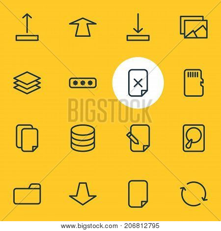 Editable Pack Of Memory, Arrow Up, Hdd And Other Elements.  Vector Illustration Of 16 Memory Icons.