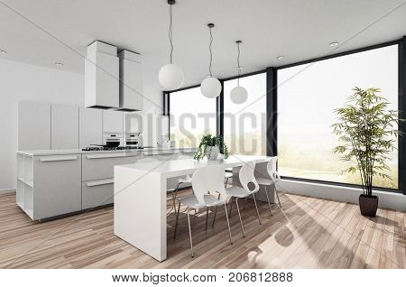 Modern white open plan kitchenette with fitted cabinets and appliances and a contemporary dining table and chairs in front of large bright view windows. 3d render