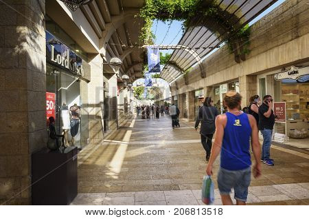 Jerusalem Israel - May 05 2017: Mamilla Mall Alrov Mamilla Avenue shopping street open-air mall in Jerusalem Israel on October 3 2016