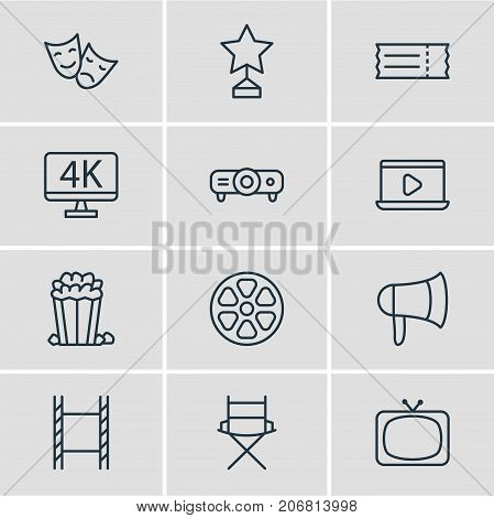 Editable Pack Of Snack, Shooting Seat, Reward And Other Elements.  Vector Illustration Of 12 Movie Icons.