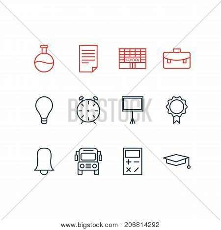 Editable Pack Of Cap, Trophy, Jingle And Other Elements.  Vector Illustration Of 12 Studies Icons.