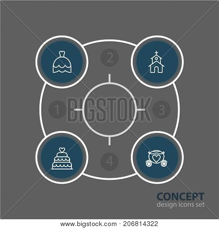 Editable Pack Of Chariot, Wedding Gown, Building And Other Elements.  Vector Illustration Of 4 Wedding Icons.