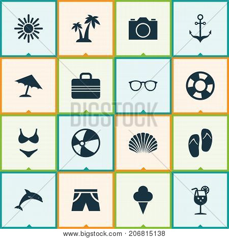 Sun Icons Set. Collection Of Spectacles, Sunny, Beach Sandals Elements