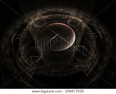 Time Machine. Mechanism of eternity.3D surreal illustration. Fractal Time series. Composition of clock and fractal elements with metaphorical relationship to time science and modern technology. Fractal artwork abstraction of a clockwork a time machine. Co