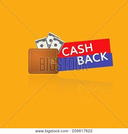 emblem Cash Back and purse vector cash back icon
