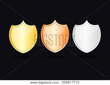 gold bronze and silver shield vector 3d