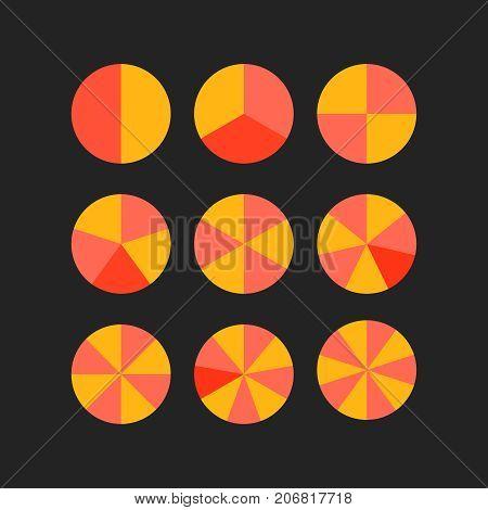 circle segments vector wheel diagram set chart