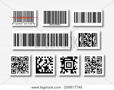 bar and qr code sticker set vector