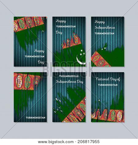 Turkmenistan Patriotic Cards For National Day. Expressive Brush Stroke In National Flag Colors On Da