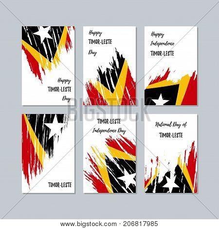 Timor-leste Patriotic Cards For National Day. Expressive Brush Stroke In National Flag Colors On Whi