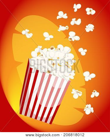 Popcorn Icon Symbol Food Cinema Movie Film Flat Vector Stock Bowl Full Of Popcorn And Paper Glass Fl