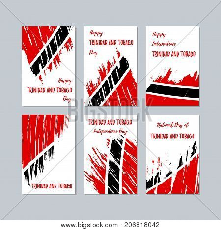 Trinidad And Tobago Patriotic Cards For National Day. Expressive Brush Stroke In National Flag Color