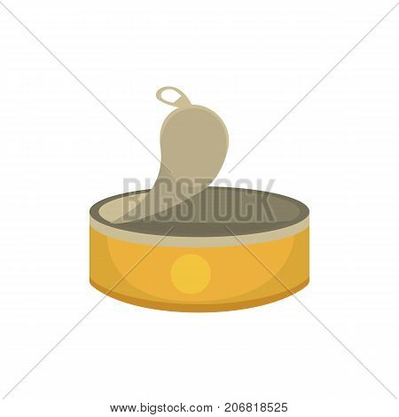 Opened food tin cans vector illustration in cartoon style.