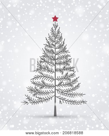 Vector illustration of a Christmas tree and snow. Happy Christmas greeting card