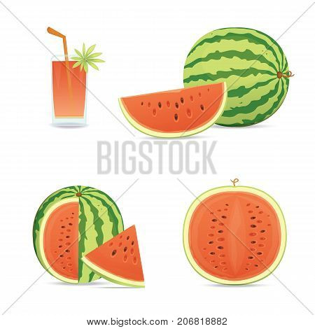 Fresh and juicy red watermelon and slices. Eat tropical fruits watermelons.