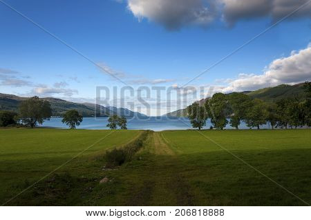 Beautiful and serene landscape of the Loch Ness in Scotland United Kingdom
