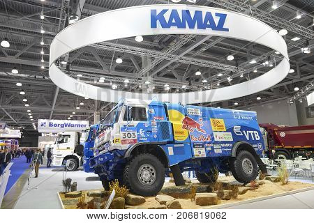 MOSCOW, SEP, 5, 2017: View on Kamaz mud race off-road truck exhibit on Commercial Transport Exhibition ComTrans-2017. Special desert rally trucks KAMAZ. Russian off road trucks Silk way rally Kamaz