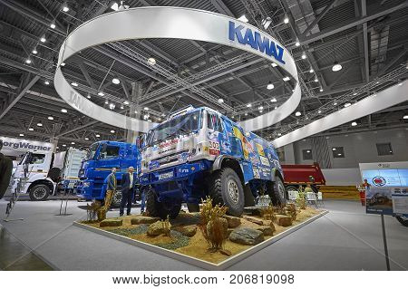 MOSCOW, SEP, 5, 2017: View on Kamaz mud race off-road truck exhibit on Commercial Transport Exhibition ComTrans-2017. Special desert rally trucks KAMAZ. Russian off road trucks Dakar rally Kamaz