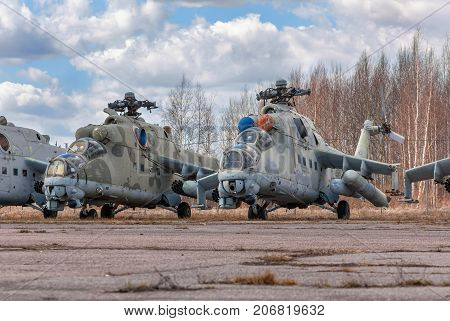 Abandoned broken Russian attack helicopter an abandoned airport